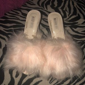 Baby pink fur slip heels